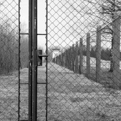 dachau, camp-fence, watch-tower